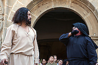 The Devil Tries to Tempt Jesus.  Palm Sunday Re-enactment of events in the life of Jesus, by the group called Luna LLena (Full Moon), a group of volunteers in Antigua, Guatemala.  Jesus is played by Rodrigo Gaytan, the Devil by Luis Garcia.