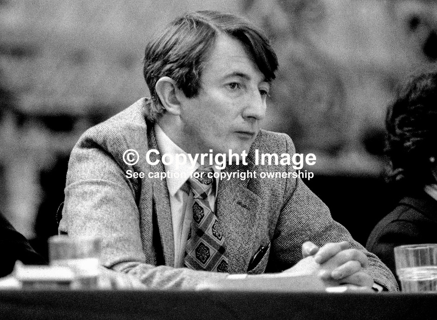 John Boland, TD, Fine Gael, political party, Rep of Ireland, on platform at his party's annual conference, aka Ard Fheis. 198103000068JB1..Copyright Image from Victor Patterson, 54 Dorchester Park, Belfast, United Kingdom, UK...For my Terms and Conditions of Use go to http://www.victorpatterson.com/Victor_Patterson/Terms_%26_Conditions.html