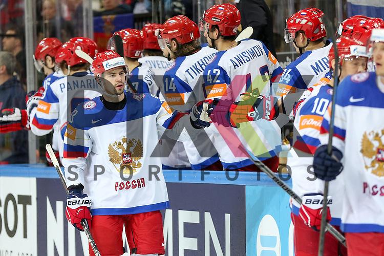 Russland mit dem Torjubel im Spiel IIHF WC15 Finale Russia vs. Canada.<br /> <br /> Foto &copy; P-I-X.org *** Foto ist honorarpflichtig! *** Auf Anfrage in hoeherer Qualitaet/Aufloesung. Belegexemplar erbeten. Veroeffentlichung ausschliesslich fuer journalistisch-publizistische Zwecke. For editorial use only.