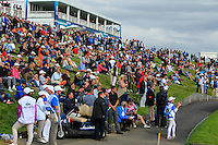 Part of the crowd at the 18th green during Round 2 of the 100th Open de France, played at Le Golf National, Guyancourt, Paris, France. 01/07/2016. <br /> Picture: Thos Caffrey | Golffile<br /> <br /> All photos usage must carry mandatory copyright credit   (&copy; Golffile | Thos Caffrey)