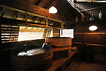 Wooden barrel is used as a bathtub in Kurokawa onsen, hot spring.<br />