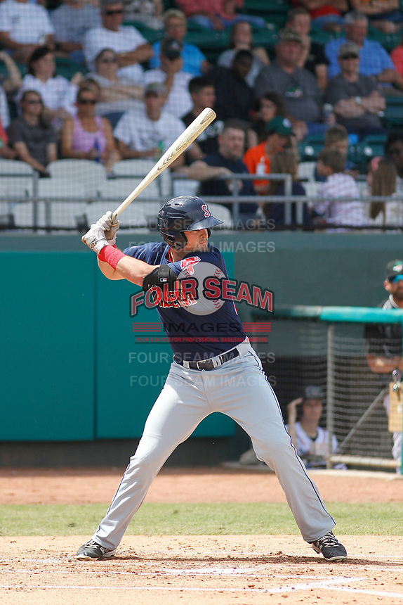 Salem Red Sox infielder Jordan Betts (25) at bat during a game against the Down East Wood Ducks  at Grainer Stadium on April 16, 2017 in Kinston, North Carolina. Salem defeated Down East 9-2. (Robert Gurganus/Four Seam Images)