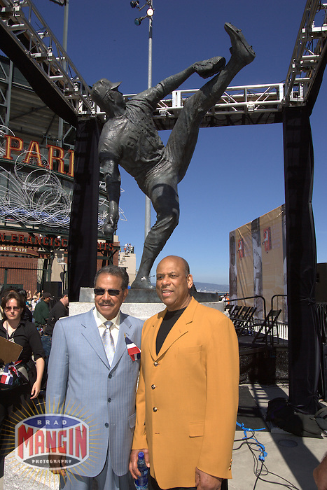 Juan Marichal and his statue with Orlando Cepeda on Juan Marichal Day. Baseball: Oakland Athletics vs San Francisco Giants at AT&T Park in San Francisco on May 21, 2005.