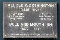 Pictured: A plaque where the Bull and Mouth Inn were located on Ceredigion Museum, Terrace Road in Aberystwyth, Wales, UK. Wednesday 28 August 2019