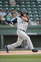 Designated hitter Blake Tiberi (3) of the Columbia Fireflies bats in a game against the Greenville Drive on Wednesday, April 18, 2018, at Fluor Field at the West End in Greenville, South Carolina. Columbia won 8-4. (Tom Priddy/Four Seam Images)