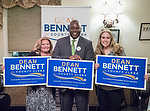 Mineola, New York, USA. September 8, 2017. L-R, EILEEN NAPOLITANO (Democrat - East Meadow) candidate for Nassau County Legislator District 13; DEAN BENNETT.  (Democrat - ) candidate for Nassau County Clerk, and  SUE MOLLER (Democrat - Merrick) candidate for Town of Hempstead Council, District 6, attend fundraiser for Dean Bennet at Davenport Press.