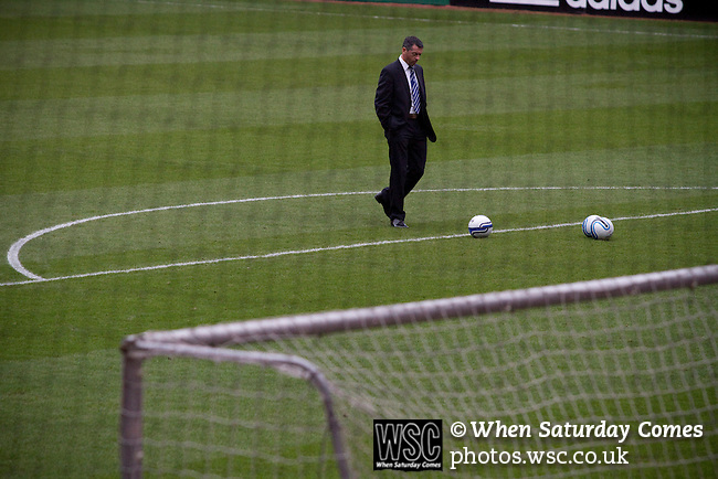 Middlesbrough 1 Preston North End 1, 22/01/2011. Riverside Stadium, Championship. Recently-appointed Preston North End manager Phil Brown gathering his thoughts on the pitch at the Riverside Stadium before the start of his team's away match at Middlesbrough in an Npower Championship fixture. The match ended in a one-all draw watched by a crowd of 16,157. Middlesbrough relocated from their former home at Ayresome Park in 1995. Photo by Colin McPherson.
