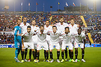 VALENCIA, SPAIN - SEPTEMBER 11: Sevilla team during BBVA LEAGUE match between Levante U.D. And Sevilla C.F. at Ciudad de Valencia Stadium on September 11, 2015 in Valencia, Spain