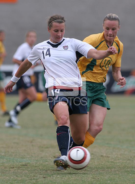 Amy  LePeilbet passes the ball against Australia in Fullerton, Calif., Sunday, Oct. 16, 2005. The USA tied Australia 0-0.