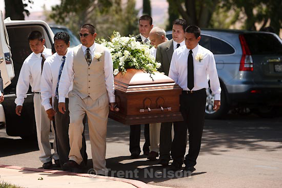 Trent Nelson  |  The Salt Lake Tribune.Pallbearers during graveside services for George P. Lee, in Washington, Tuesday, August 3, 2010.