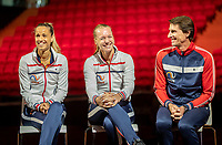 The Hague, The Netherlands, Februari 6, 2020,    Sportcampus, FedCup  Netherlands -  Balarus, Draw, Ltr: Arantxa Rus, Kiki Bertens and Captain Paul Haarhuis<br /> Photo: Tennisimages/Henk Koster