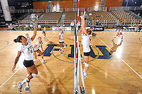 24 September 2010:  FIU's Briana Spruill (8) runs through pre-match drills with the rest of the team.  The FIU Golden Panthers defeated the University of Denver Pioneers, 3-0 (29-27, 25-16, 25-20), at U.S Century Bank Arena in Miami, Florida.