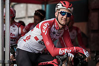 Tim Wellens (BEL/Lotto Soudal) and team awaiting the pre race team presentation. <br /> <br /> 103rd Ronde van Vlaanderen 2019<br /> One day race from Antwerp to Oudenaarde (BEL/270km)<br /> <br /> ©kramon