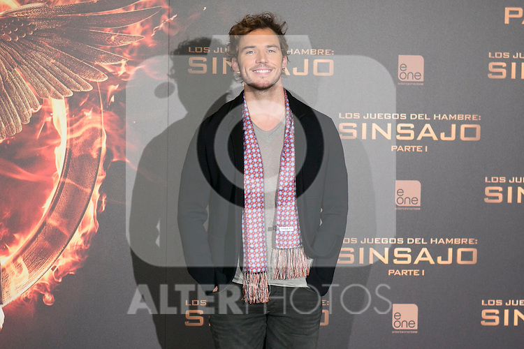 "British Actor SAM CLAFLIN attends the ""The Hunger Games: Mockingjay - Part 1"" presentation at Villamagna Hotel in Madrid, Spain. November 12, 2014. (ALTERPHOTOS/Carlos Dafonte)"