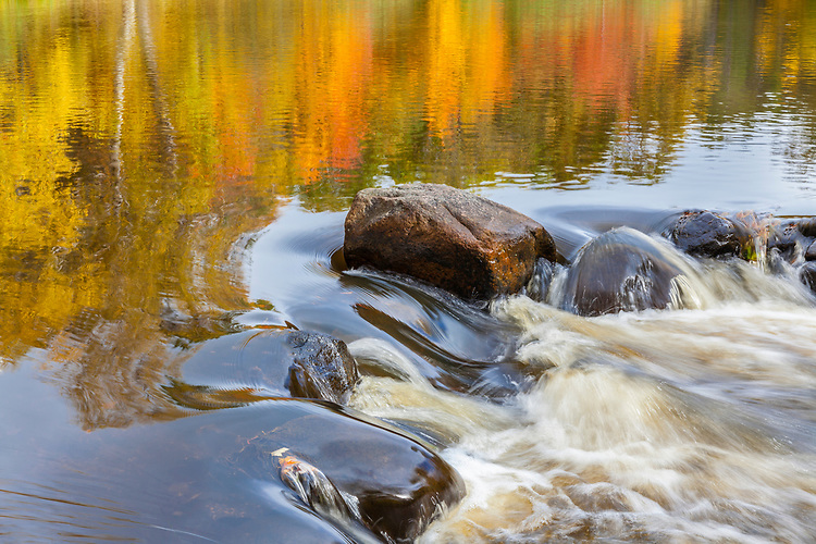 Morning fall light and reflections on the Manitowish River; Vilas County, WI