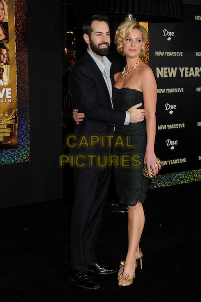 Josh Kelley & Katherine Heigl.'New Year's Eve' Los Angeles premiere at  Grauman's Chinese Theatre, Hollywood, California, USA..5th December 2011.full length dress black lace strapless suit beard facial hair married husband wife gold necklace diamonds shoes peep toe.CAP/ADM/BP.©Byron Purvis/AdMedia/Capital Pictures.