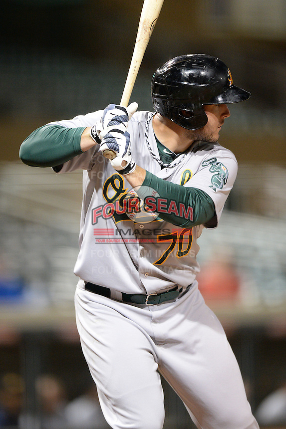 Mesa Solar Sox catcher David Freitas (70), of the Oakland Athletics organization, during an Arizona Fall League game against the Salt River Rafters on October 10, 2013 at Salt River Fields at Talking Stick in Scottsdale, Arizona.  Mesa defeated Salt River 8-1.  (Mike Janes/Four Seam Images)