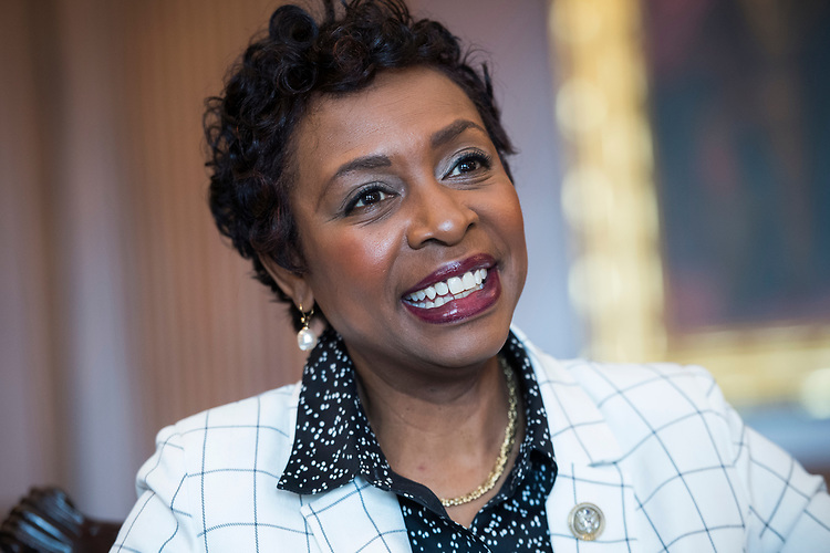 UNITED STATES - JULY 13: Rep. Yvette Clarke, D-N.Y., is interviewed in the Capitol's Rayburn Room on July 13, 2018. (Photo By Tom Williams/CQ Roll Call)