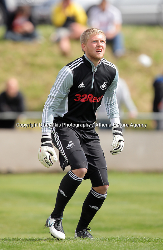 Pictured: Swansea goalkeeper David Cornell. Saturday 17 July 2011<br /> Re: Pre season friendly, Port Talbot Football Club v Swansea City FC at the GenQuip ground, Port Talbot, south Wales.