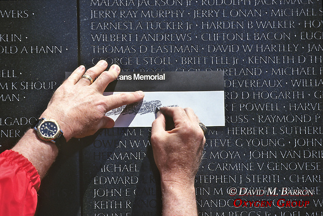 Etching Name Of Fallen Soilder, Vietnam Memorial