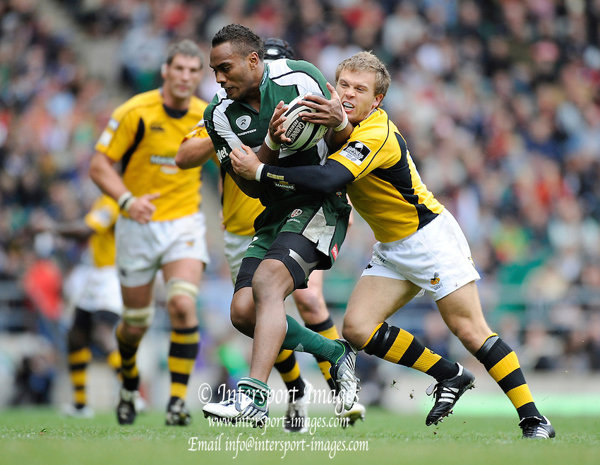 Twickenham, GREAT BRITAIN, Exiles Sailosi TAGICAKIBAU on moving forwarf with the ball, during the Guinness Premiership match,  London Irish vs London Wasps, at Twickenham Stadium, Surrey on Sat 06.09.2008. [Photo, Peter Spurrier/Intersport-images]