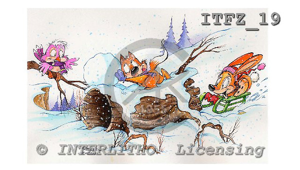 Fabrizio, Comics, CHRISTMAS SANTA, SNOWMAN, paintings, ITFZ19,#x# Weihnachten, Navidad, illustrations, pinturas