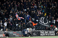 Picture by Paul Greenwood/SWpix.com - 27/04/2018 - Rugby League - Betfred Super League - Widnes Vikings v Wigan Warriors - Select Security Stadium, Widnes, England - Widnes Vikings fans in the stands wave flags