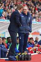 (L-R) Swansea City manager Graham Potter greets Nottingham Forest manager Martin O'Neill during the Sky Bet Championship match between Nottingham Forest and Swansea City at City Ground, Nottingham, England, UK. Saturday 30 March 2019