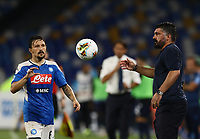 1st August 2020; Stadio San Paolo, Naples, Campania, Italy; Serie A Football, Napoli versus Lazio; Gennaro Gattuso collects the loose ball on the sideline