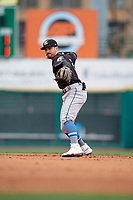 Charlotte Knights second baseman Danny Mendick (17) throws to first base during an International League game against the Rochester Red Wings on June 16, 2019 at Frontier Field in Rochester, New York.  Rochester defeated Charlotte 11-5 in the first game of a doubleheader that was a continuation of a game postponed the day prior due to inclement weather.  (Mike Janes/Four Seam Images)