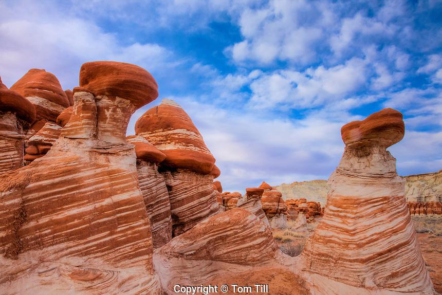 Striped rocks at Blue Mesa, Hopi Reservation, Arizona, Hoodoo balanced rocks