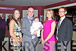 BABY JOY: Proud parents David McElligott and Sinead Leane, Oakpark, Tralee of little Chloe Marie with godparents Miriam Leane and Stephen McElligott who was Christened by Fr Patsy Lynch at St Brendan's Church, Tralee and celebrated afterwards with family and friends at O'Donnell's bar and restaurant, Tralee on Saturday.