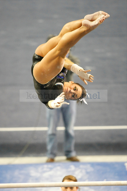 Sophomore Shelby Hilton performs at the uneven bars at UK gymnastics vs. LSU at Memorial Coliseum in Lexington, Ky., on Friday, February 1, 2013. Photo by Tessa Lighty | Staff