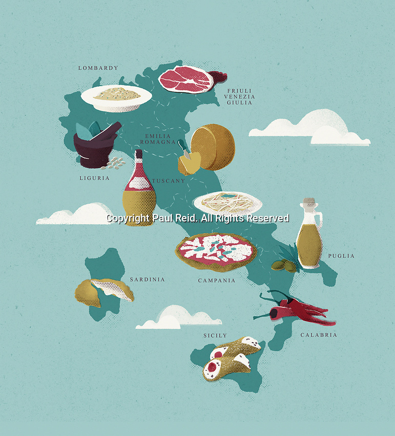 Map of Italy with traditional Italian food