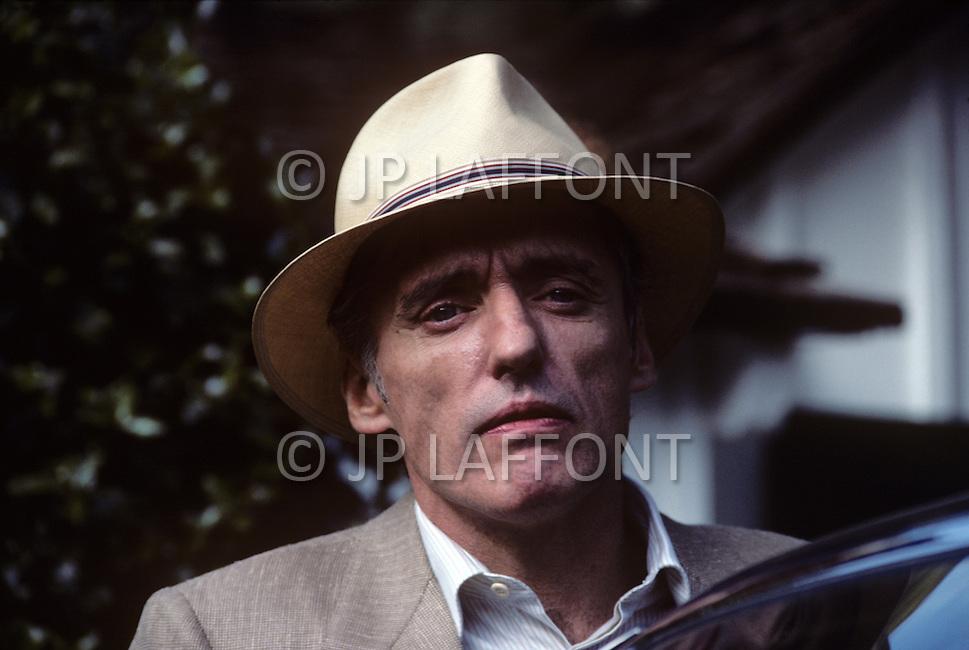 Los Angeles, CA, Summer 1982. The Osterman Weekend is a 1983 suspense thriller film directed by Sam Peckinpah. The film stars Rutger Hauer, John Hurt, Burt Lancaster, Dennis Hopper, Meg Foster and Craig T. Nelson. It was Peckinpah's final film before his death in 1984. Photo of Dennis Hopper.