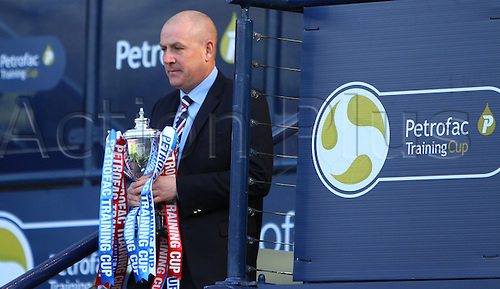 10.04.2016. Hampden Park, Glasgow, Scotland. Petrofac Training Cup Final. Rangers versus Peterhead. Mark Warburton comes down the Hampden stairs after collecting the trophy