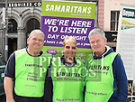 Samaritans volunteers Noel Gavin, Margaret Fahey and Frank McArdle pictured at the Louth Volunteer Centre fair on West street. Photo:Colin Bell/pressphotos.ie