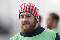 Match sponsor, Tunnock's, hat being warn during the warm up ahead of the Greene King IPA Championship match between London Scottish Football Club and Jersey at Richmond Athletic Ground, Richmond, United Kingdom on 18 February 2017. Photo by David Horn / PRiME Media Images.
