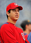 24 September 2011: Washington Nationals pitcher Tommy Milone watches activities prior to a game against the Atlanta Braves at Nationals Park in Washington, DC. The Nationals defeated the Braves 4-1 to even up their 3-game series. Mandatory Credit: Ed Wolfstein Photo
