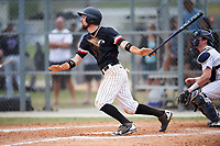 Edgewood College Eagles Jonathan Roehler (9) at bat during the first game of a doubleheader against Western Connecticut Colonials on March 13, 2017 at the Lee County Player Development Complex in Fort Myers, Florida.  Edgewood defeated Western Connecticut 3-0.  (Mike Janes/Four Seam Images)
