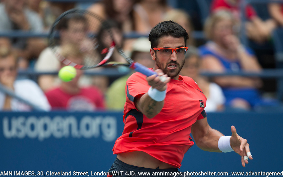 Janko Tipsarevic..Tennis - US Open - Grand Slam -  New York 2012 -  Flushing Meadows - New York - USA - Wednesday 5th September  2012. .© AMN Images, 30, Cleveland Street, London, W1T 4JD.Tel - +44 20 7907 6387.mfrey@advantagemedianet.com.www.amnimages.photoshelter.com.www.advantagemedianet.com.www.tennishead.net