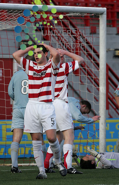 David Elebert holds his hands on his head as Hamilton Misses another shot at the Partick goal during the IRN BRU Scottish Football League Divi 1 match Hamilton Academical v Partick Thistle..Pic: Universal News And Sport (Scotland)......... .