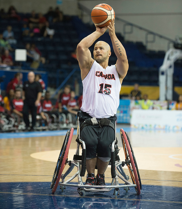 TORONTO, ON, AUGUST 8, 2015. Wheelchair Basketball -  CAN 102-27VEN in men's action - David Eng.<br /> Photo: Dan Galbraith/Canadian Paralympic Committee