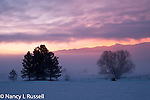 Sunrise over the Kootenai National Wildlife Refuge in winter with fog over the valley