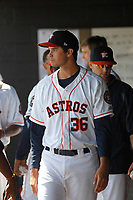 Buies Creek Astros pitcher Matt Bower (36) in the dugout during a game against the Winston-Salem Dash at Jim Perry Stadium on the campus of Campbell University on April 9, 2017 in Buies Creek, North Carolina. Buies Creek defeated Winston-Salem 2-0. (Robert Gurganus/Four Seam Images)