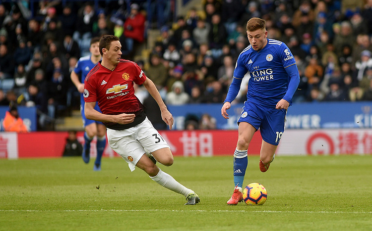 Manchester United's Nemanja Matic battles with Leicester City's Harvey Barnes<br /> <br /> Photographer Hannah Fountain/CameraSport<br /> <br /> The Premier League - Leicester City v Manchester United - Sunday 3rd February 2019 - King Power Stadium - Leicester<br /> <br /> World Copyright © 2019 CameraSport. All rights reserved. 43 Linden Ave. Countesthorpe. Leicester. England. LE8 5PG - Tel: +44 (0) 116 277 4147 - admin@camerasport.com - www.camerasport.com