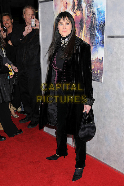 "CONNIE SELLECCA.""Step Up 2: The Streets"" World Premiere at Arclight Cinemas, Hollywood, California, USA..February 4th, 2008.full length black bag purse jacket coat purple waistcoat .CAP/ADM/BP.©Byron Purvis/AdMedia/Capital Pictures."