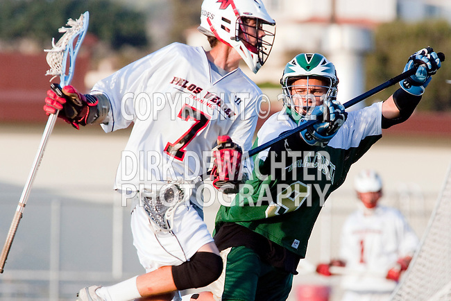 Palos Verdes, CA 03/23/10 - Jeremy Silva (MC # 9) and Tony Romeri (PV # 7) in action during the Mira Costa-Palos Verdes Junior Varsity game at Palos Verdes High School, Palos Verdes defeated Mira Costa.