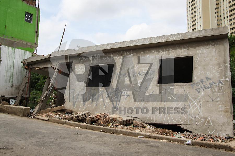 SÃO PAULO, SP, 24.03.2016 – DESABAMENTO-SP - Uma casa desabou após forte chuva do dia 24 de fevereiro, no bairro Vila Mendes região leste de São Paulo nesta quinta-feira, 24. (Foto: Marcos Moraes/Brazil Photo Press)