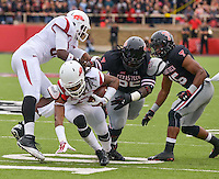 STAFF PHOTO BEN GOFF  @NWABenGoff -- 09/13/14 Arkansas wide receiver Keon Hatcher (4) runs the ball in the first quarter of the game in Jones AT&T Stadium in Lubbock, Texas on Saturday September 13, 2014.